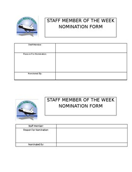 Staff Member of the Week Nomination Form
