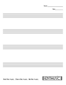 Staff Paper - 4 Staves  (MUSIC)
