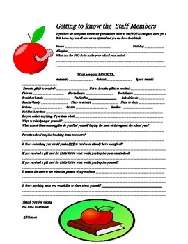 Staff Questionnaire