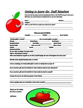 Staff Questionnaire