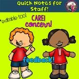 Staff Quick Notes! Editable! Fun!