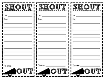 Staff Shout Out Slips