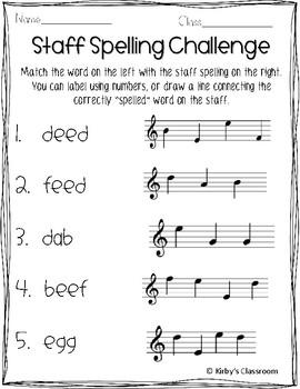Staff Spelling Prinatables