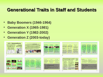 Staff/Student Generational Traits: Boomers, GenX, Millenials (for STAFF LEADERS)