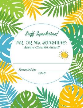 "Staff Superlatives - ""Most Cheerful Award"" - Tropical Theme"