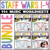 Staff Wars BUNDLE! 114 Worksheets for Music Class