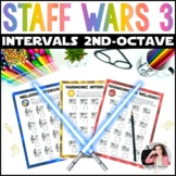 Music Worksheets: Staff Wars Intervals {No Prep Space-Themed Pages}
