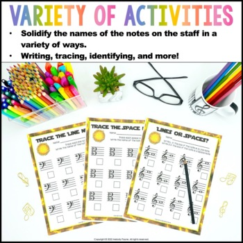 Staff Wars Music Worksheets {62 No-Prep, Treble, Alto, Bass  Space-Themed Pages}