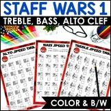 Staff Wars Music Worksheets {62 No-Prep, Treble, Alto, Bas