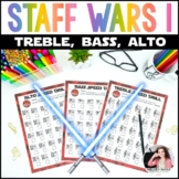 Staff Wars Music Worksheets {62 No-Prep, Treble, Alto, Bas