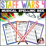 Music Worksheets: Staff Wars Music Spelling Bee {No Prep S