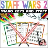 Distance Learning Piano Key & Staff Worksheets: Staff Wars