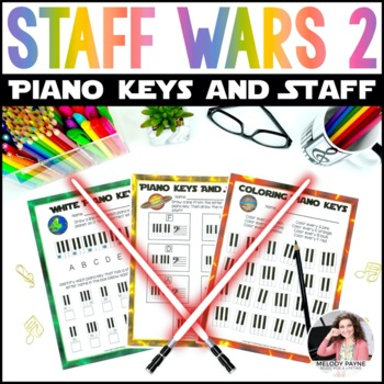 Staff Wars Piano Key & Staff Worksheets {16 No Prep Space-