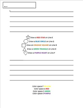 Staff Worksheet for Lines and Spaces