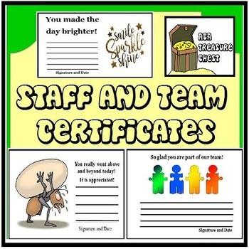 Staff and Team Certificates, ABA, School, encouragment, award