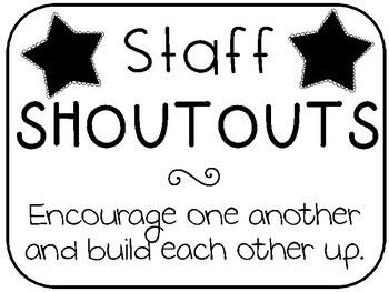 Staff shoutout cards