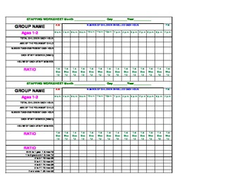 Staffing Worksheet for 1 & 2 year old classroom
