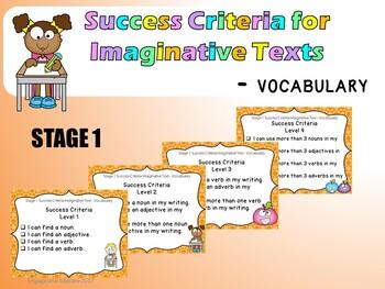 Stage 1 Success Criteria for Imaginative Texts - Vocabulary