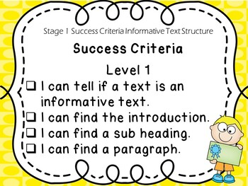 Stage 1 Success Criteria for Informative Text Structure Writing
