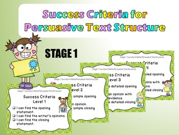 Stage 1 Success Criteria for Persuasive Text Structure