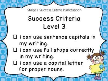 Stage 1 Success Criteria for Punctuation