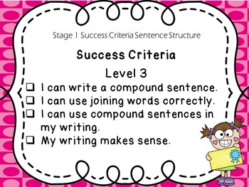 Stage 1 Success Criteria for Writing Sentence Structure
