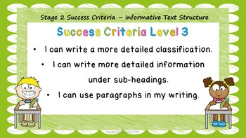 Stage 2 Success Criteria for Informative Text Structure