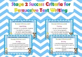 Stage 2 Success Criteria for Persuasive Text Structure