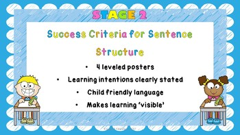 Stage 2 Success Criteria for Sentence Structure
