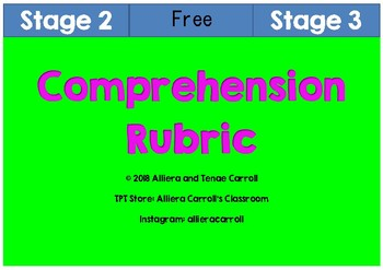 Stage 2 and 3 Comprehension Rubric