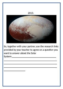 Stage 3 Science Earth & Space:  Create your own Mission Project