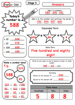Stage 5-8 Number and Decimal of the day worksheets and answers