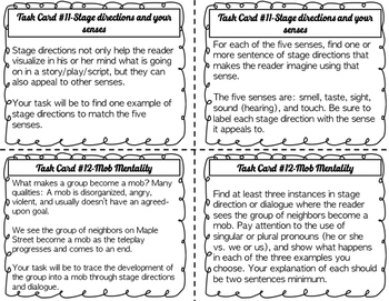 Stage Directions/Dialogue Task Cards for The Monsters are Due... {CCSS}