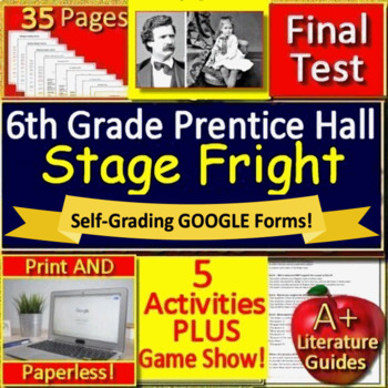 Stage Fright Mark Twain 6th Grade Prentice Hall Activities Quiz Jeopardy Game