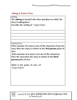 Stage Fright Literature and Grammar Unit