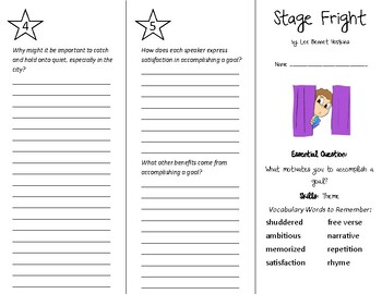 Stage Fright Trifold - Wonders 5th Grade Unit 2 Week 5