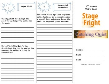 """Stage Fright"" and ""Catching Quiet"" Trifold Activity Reading Wonders 5th Grade"