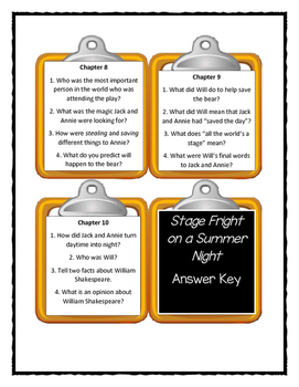 Magic Tree House STAGE FRIGHT ON A SUMMER NIGHT - Discussion Cards