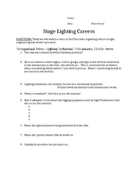 Stage Lighting Careers Worksheet with YouTube Clips