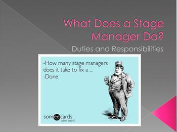 Stage Management Unit Lesson Plans and Power Points Bundle
