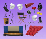 Stage Play Clipart - Drama Acting Theatre Digital PNG Graphics