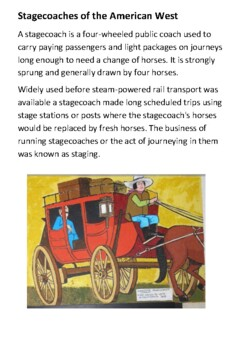 Stagecoaches of the American West Handout