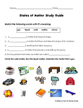 Stages of Matter Study Guide