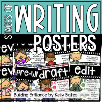 {FREEBIE} Stages of Writing Posters Watercolor Dots and Kids