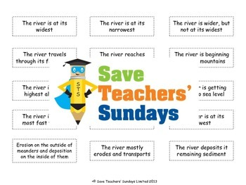 Stages of a river Lesson plan, Text and Worksheet