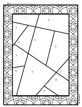 Stain Glass Math Long Division with Remainders