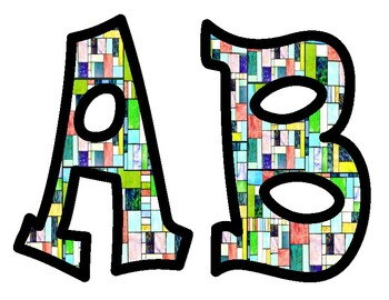 Stained Glass Bulletin Board Alphabet Letters