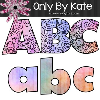 Bulletin Board Letters, Stained Glass Zentangle, Print Your Own
