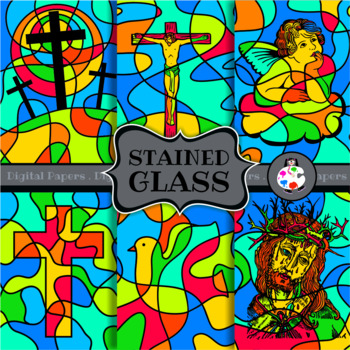 Stained Glass Christian Clip Art Graphics Set