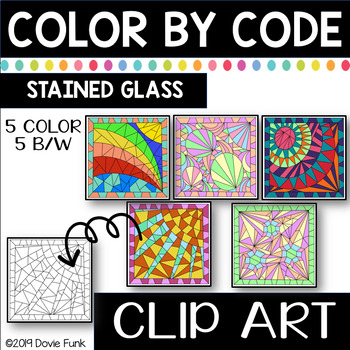 Stained Glass Color by Code Clip Art Abstract Designs